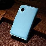 LD Case A000203 Housse aspect cuir lisse avec porte-carte pour Wiko Ozzy Bleu