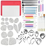 62pcs Gumpaste Flowers and Leaves Fondant Tool Leaf Tool Kit Gum Paste Flower Cutter Set Stainless Steel Flower Cutter Silicone Molds Foam Pad Veining Board Ball Tools Modelling Tools Brushes (Color: Red)