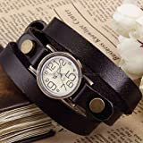 Ailisha Bronze Lady Wrap Triple Bracelet Black Leather Quartz Wrist Watch WAA382