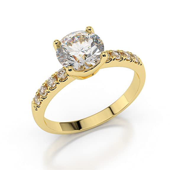 0.70 CT Yellow Gold Engagement Ring Round Cut Natural Diamond with Sidestones H/SI1 (Clarity Enhanced) 18ct