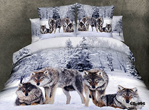 Queen King Size 100% Cotton 7-Pieces 3D Four Wolf Animal White Snow Tree Winter Prints Fitted Sheet Set With Rubber Around Duvet Cover Set/Bed Linens/Bed Sheet Sets/Bedclothes/Bedding Sets/Bed Sets/Bed Covers/ Comforters Sets Bed In A Bag (King) front-889366