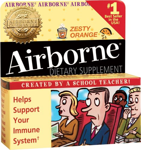 Airborne Effervescent Health Formula, Original Orange, 10 Tablets (Pack of 3)