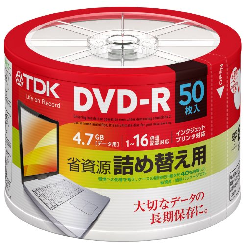 [Amazon.co.jp limited edition] Can TDK for data DVD-r 4.7 GB 1-16 x for hand-painted white wide printable 50 spindle refill ATDR-47PWC50RFZ refill Pack