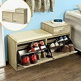 Sobuy fsr16 n banc armoire chaussures 2 abattants avec - Amazon rangement chaussures ...