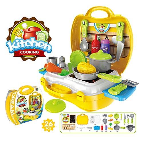 Eizur 26Pcs Cucina da gioco Set pentole e posate Finta Play d'imitazione Giochi con Trasportare caso per bambini