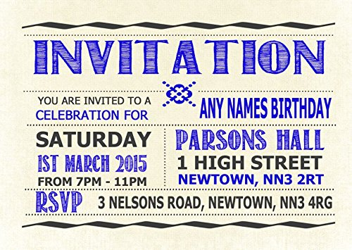 Typography Word Art Royal Blue Personalized Birthday Party Invitations