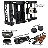BECEMURU Pro Wide Angle Micro Lens Bundle,12X Mobile Tlelscope Lens with 2 in 1 0.45 Wide Angle Lens+15X Micro Lens Bracket Mount for iPhone Phone Samsung Most Smart Phones (Color: DN0030)