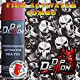 Combo Kit American Combat Tactical Skulls Hydrographic Water Transfer Film Activator Combo Kit Hydro Dipping Dip Demon (Tamaño: 16oz Can of Activator + 20