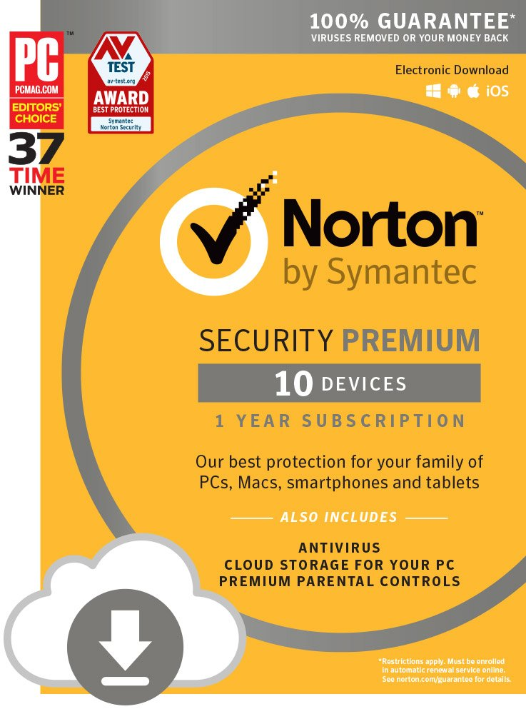 Norton Security Premium - 10 Devices | PC/Mac Online Code (Online Code)