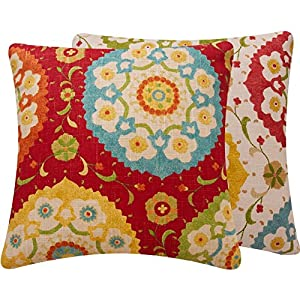 Chloe & Olive Fiesta Infusion Collection Geometric Square Couch Pillow Cover, 20-Inch, Red