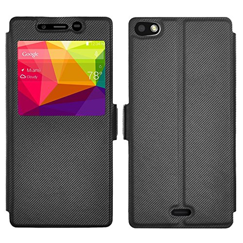 BLU Vivo Air LTE Case, IVSO BLU Vivo Air LTE Case [View Window] [Full Range Protection] Linen Texture Slim Leather High Quality Case Cover for BLU Vivo Air LTE Phone(Black) (Vivo Air Blu compare prices)