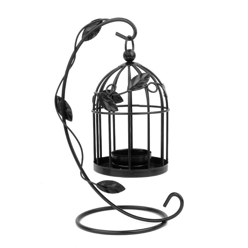 Tinksky Hanging Candle Holder Stand Candlestick Candle Cage Lantern (Black) 3
