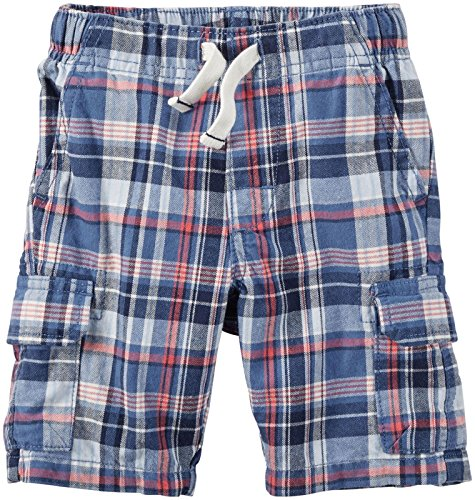 Carter's Plaid Canvas Shorts 224g171, Red/White/Black, 24 Months