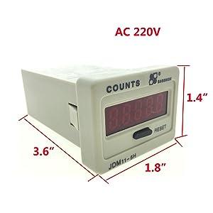 YXQ AC 220V 5 Digits 0-99999 Accumulator Digital Counter LED Display Resettable Electronic JDM11-5H (Tamaño: 5 Digits/AC 220v)