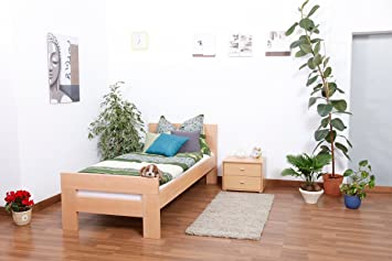 "Bettgestell ""Easy Sleep"" K2, Buche Vollholz massiv Natur - Maße: 90 x 190 cm"