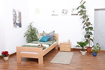 "Massivholzbett ""Easy Sleep"" K2, Buche Vollholz massiv Natur - Maße: 90 x 190 cm"