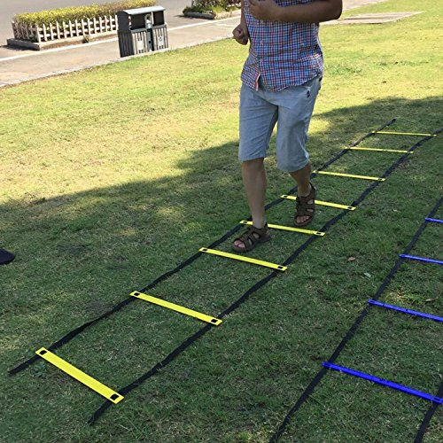 Mosong Durable Agility Ladder W/ Bonus Carry Bag -Great for Soccer Workout, Football Drills, Basketball - Speed Training Equipment For High Intensity Footwork -
