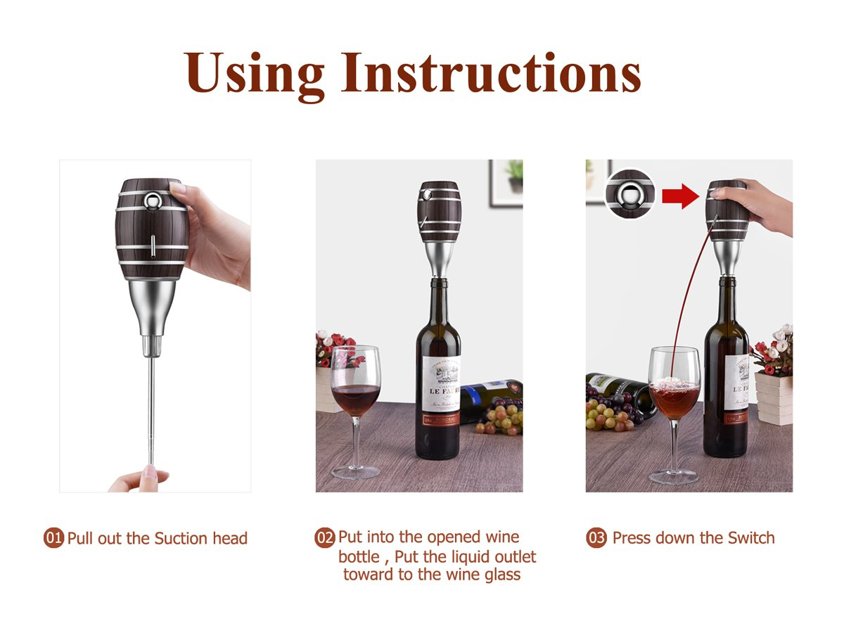 Electric Wine Aerator, Wuudi Luxury Wine decanter Pump and Dispenser for Wine and Spirit Battery Operated