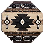 South West Native American Octagon Area Rug Design C318 Berber (4 Feet X 4 Feet) Octagon