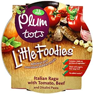Plum Baby Organic 12 Plus Months Neopolitan Tomato and Beef Ragu with Ditalini Pasta (Pack of 5)