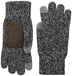 True Religion Men's 2-Tone Knit Glove, Black, One Size