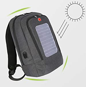 Lis-shan Solar Charging Backpack with 2000Mah Solar Panel, Charge Smartphones, Tablets, Smartwatch + USB/Dual-USB-Port Hiking, Backpacking, Outdoors,Blue (Color: Blue)