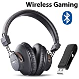 Avantree DG59 Wireless Gaming Headphones with Mic & Bluetooth USB Audio Transmitter for PC PS4 Nintendo Switch Desktop Computer, Chat & Music Simultaneously, No Audio Delay, 40hrs Play Time (Color: Black - BT Headphone USB Audio Transmitter PC Set DG59)