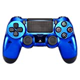 eXtremeRate Chrome Blue Edition Faceplate Cover, Front Housing Shell Case Replacement Kit for PS4 PS4 Slim PS4 Pro Controller (CUH-ZCT2 JDM-040 JDM-050 JDM-055) (Color: Chrome Blue)
