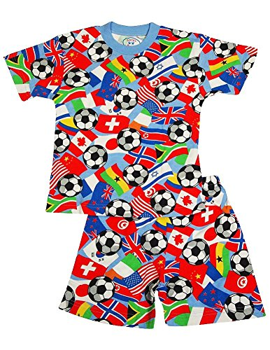 Sara'S Prints - Little Boys Short Sleeve Soccer Shorty Pajamas, Multi 35353-7 front-671372