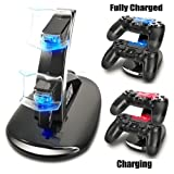 TOBSKBY Dual USB Charging Charger Docking Station Stand for Playstation 4 PS4 / PS4 Pro / PS4 Slim Controller