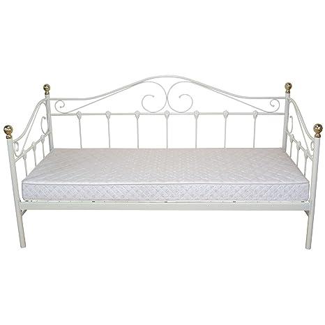 Bett H163, Gästebett Day Bed, Metall pulverbeschichtet, mit Lattenrost ~ weiß