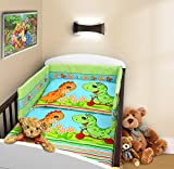 COT BUMPER 100 COTTON PADDED FOR BABY FIT COT 120x60 140x70 STRAIGHT 180cm to fit cot 120x60cm Dino Green