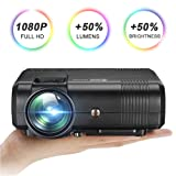 Video Projector with HD 1080P, GOXMGO 2200 Lumens LED Mini Portable Projector for Multimedia Home Theater, Movie Projector Support HDMI, USB, SD, VGA, AV for Home Cinema TV Laptop Game Smartphone (Color: Black)