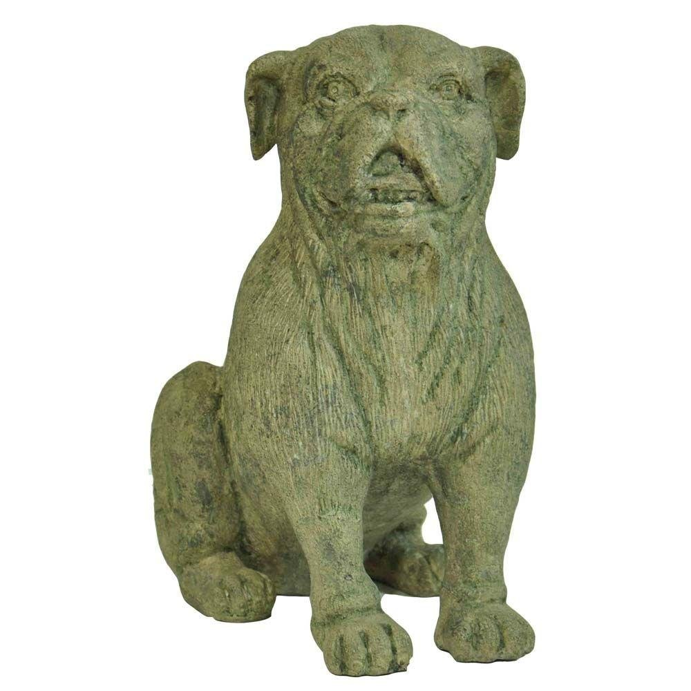 MPG 15-1/2 in. H Cast Stone Bulldog Statue In Granite Finish