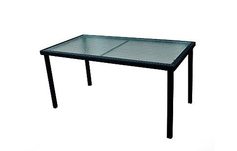 Tavolo da giardino in resina intrecciata e vassoio vetro 140cm