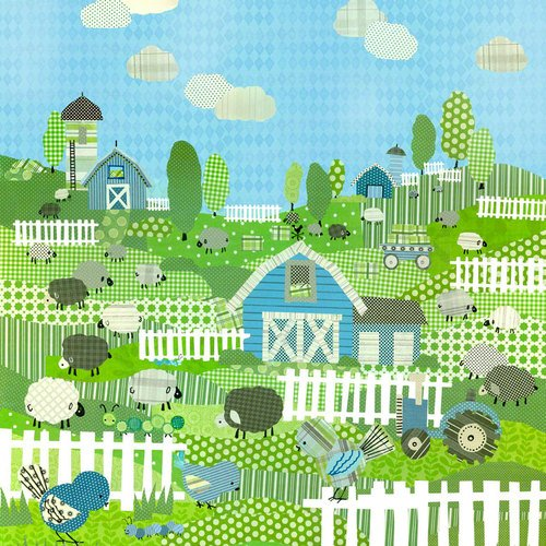 Oopsy daisy, Fine Art for Kids Counting Sheep and Birdies Blue Stretched Canvas Art by Winborg Sisters, 21 by 21-Inch