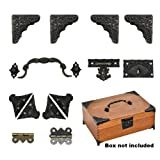 Jewelry Box Antique Lock Latch Hasp Hinges Handle Box Corner Protectors Kit for DIY Jewelry Box Bronze Tone 2 Sets 24Pcs