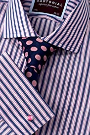 "2"" Longer Sartorial Pure Cotton Striped Shirt"
