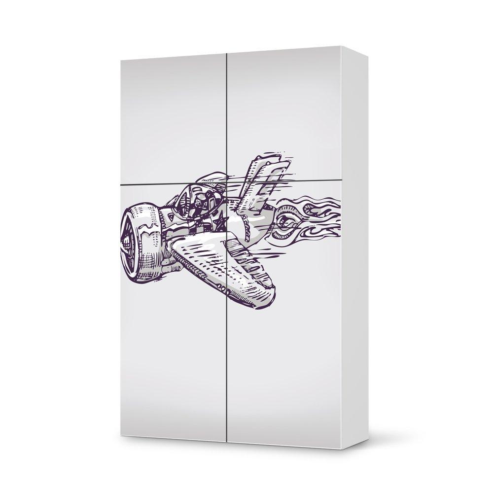 Folie IKEA Besta Schrank Hochkant 4 Türen (2+2) / Design Aufkleber Rocket Plane / Dekorationselement günstig kaufen
