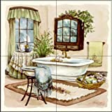 The Tile Mural Store - Sage Bath II by Jerianne Van Dijk - Kitchen Backsplash / Bathroom wall Tile Mural