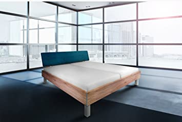 Juego de cama con diseño de Berlín De colour azul 140 x 200, 180 x 200, 200 x 200, de la tapicería de la cabeza de la parte de azul, de madera maciza de (180 x 200), 180 x 200 cm - H3