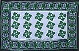 カンガ アフリカの布 花柄 『~女は中面よ』 (ブルー×緑) lua-7