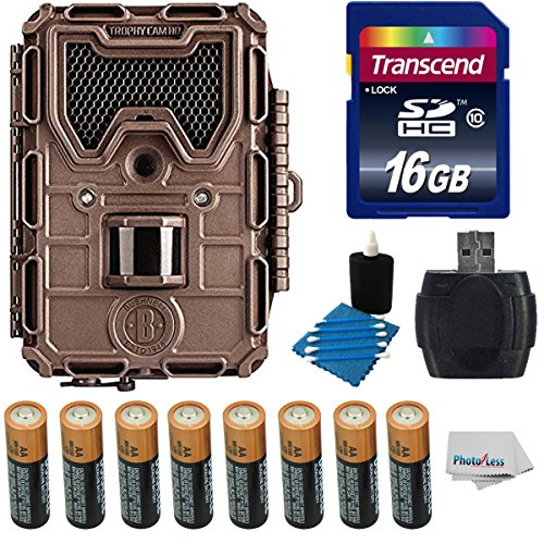 Bushnell 8MP Trophy Cam HD LED Low Trail Camera Bundle With Night Vision + 16GB Class 10 SDHC Card + 8 AA Batteries + Card Reader + Cleaning Kit + Cloth