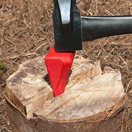 Spaltkeil-aus-Stahl-Spalter-Keil-Spaltgranate-Axt-Beil-Holzspalter-Metall-ROT