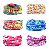 Cool Oringinal Design 6 Pack Head Band Bandana Protective Multi-use Seamless Breathable Neck and Head Tube Gaiter. Can Be Used As Neck Warmer, Headband, Bandana, Wristband, Balaclava, Headwrap. For Outdoor Activities Like Fishing Hunting Golf Camping Hiking Sports Motorcycle Riding Biking Cycling (Mix Set 1)