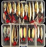 Fishing Lures Metal Spoons Hard Baits 22pcs Set Metal Fishing Lures Spinner Baits Fish Treble Hooks Tackle Salmon Bass