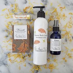 Warm Spice Organic Bath and Body Gift Set with Lotion, Handmade Soap Bar, Aromatherapy Facial Toner, and Lip Balm