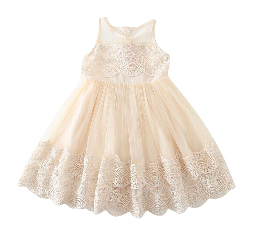 Victoria Little Girl Vintage Look Lace Tulle Dress Tan 0