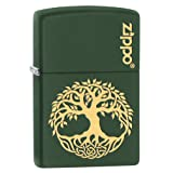 Zippo Lighter: Engraved Tree of Life - Green Matte 79509 (Color: Green Matte)