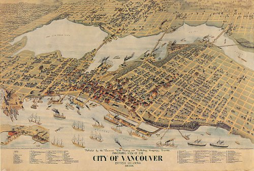 BIRDS EYE VIEW CITY OF VANCOUVER BRITISH COLUMBIA CANADA MAP SMALL VINTAGE POSTER REPRO